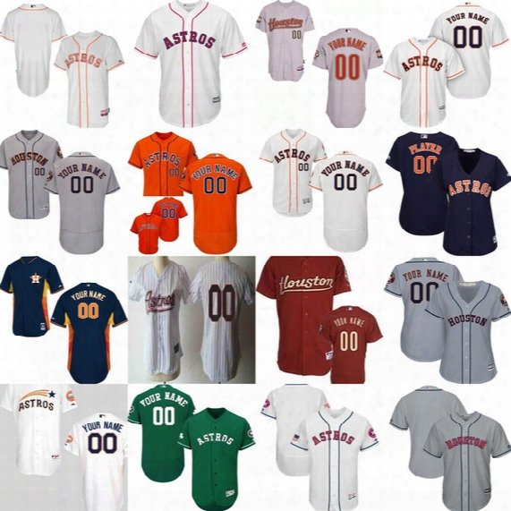 New Mens Womens Youth Customized Houston Astros Fashion Stars&stripes Usmc Celtic Cool Flex Baseball Jerseys Green White Grey Orange Red
