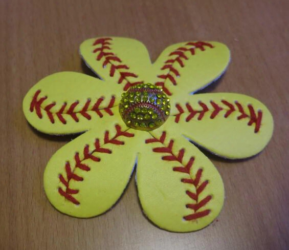 New Softball Baseball Flower ,softball Flower Hair Clip And Accessory,softball Hair Bows,softball Leather Flower
