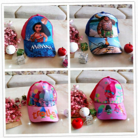 New Trolls Moana Children Hat Cartoon Baseball Caps Baby Kids Hip Hop Hat Free Shipping