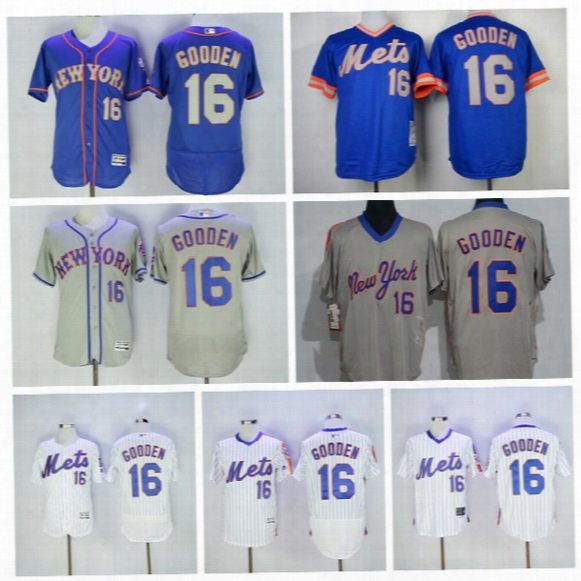 New York Mets Baseball 16 Dwight Gooden Jersey Throwback White Pinstripe Blue Black Grey Flexbase Cool Base Pullover Fashion Best Quality