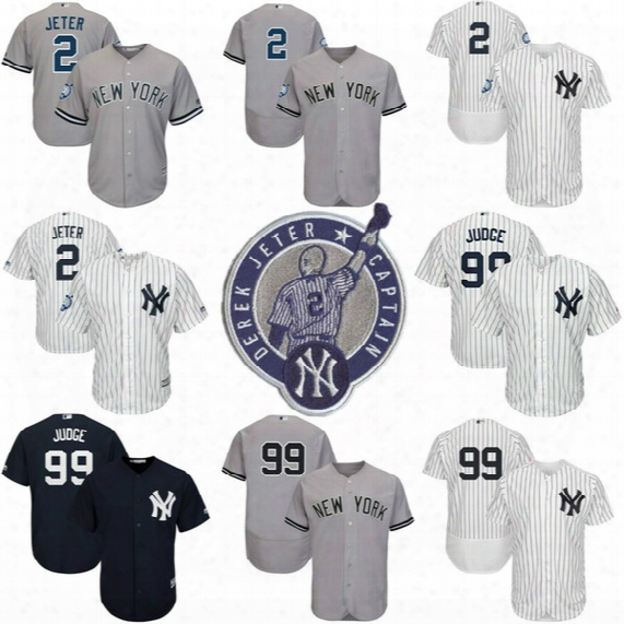 New York Yankees 2 Derek Jeter Retirement Patch Jersey 99 Aaron Judge Jersey Stars And Stripes Baseball Jerseys