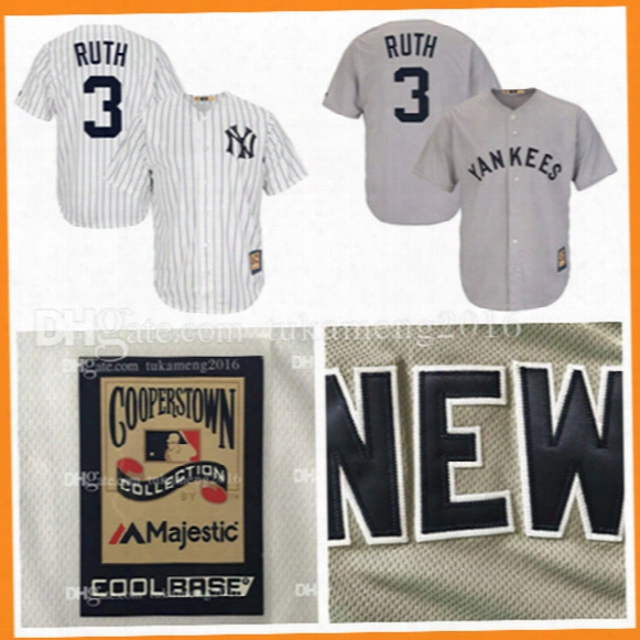 New York Yankees 3 Babe Ruth Baseball Jerseys Mlb Majestic White Home Cool Base Cooperstown Collection Throwback Player Jersey