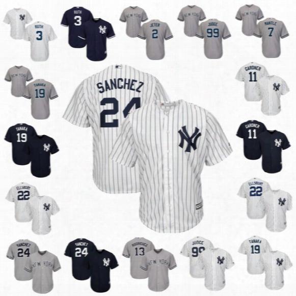 New York Yankees Gary Sanchez 2 Jeter Aaron Judge 13 Rodriguez Mickey Mantle Babe Ruth 11 Gardner Jacoby Ellsbury Brian Mccann Tanaka Jersey