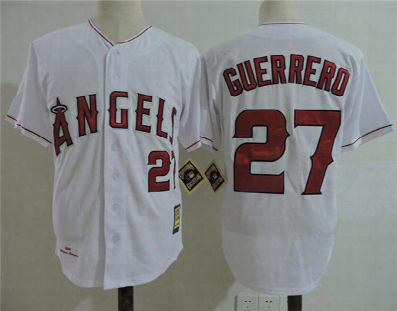 Newest-los Angeles Angels Of Anaheim Vladimir Guerrero Throwback Cooperstown Jersey 27 Vladimir Guerrero California Angels Baseball Jerseys