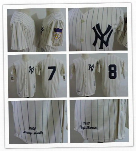 Newest Mens New York Yankees #8 Yogi Berra Cream 1951 Throwback Jersey Cooperstown Stitched Ny Yankees 7 Mickey Mantle Baseball Jersey Retro