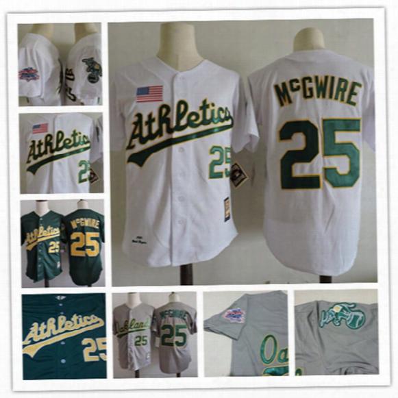 Newest-mens Oakland Athletics Mark Mcgwire Throwback Cooperstown Jersey #25 Mark Mcgwire Athletics 1989 World Series Baseball Jerseys