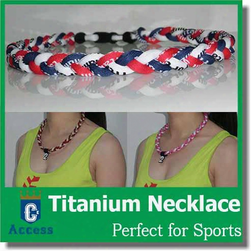 Newfangled Ionic Titanium Baseball Sports Tornado Necklaces Blue & Red & White