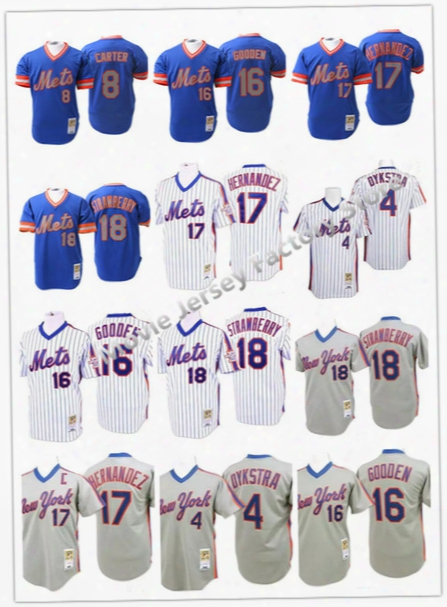Ny/new York Mets 4 Lenny Dykstra 8 Gary Carter 16 Dwight Gooden 18 Darryl Strawberry 17 Keith Hernandez 1986 Throwback Jersey.100% Stitched