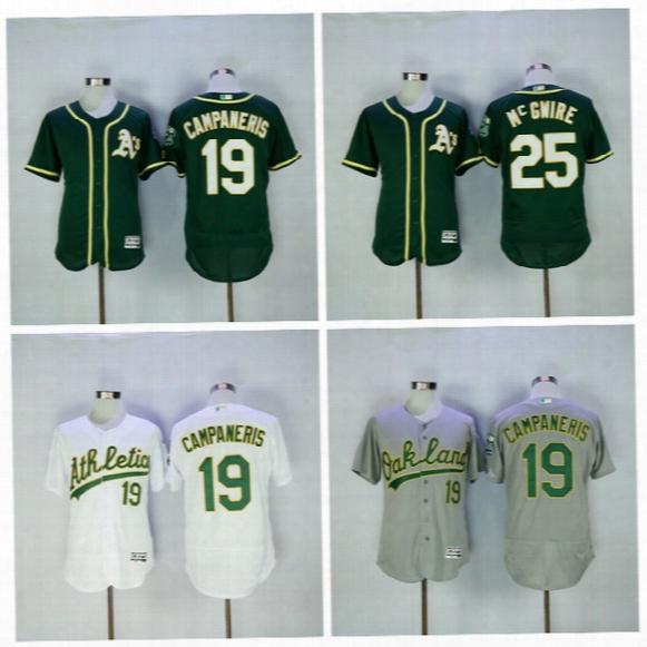 Oakland Athletics Baseball Jerseys Cheap 25 Mark Mcgwire 19 Bert Campaneris Jersey 35 Rickey Henderson Flxebase Cool Base Home Green White