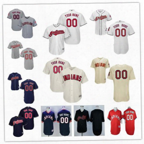 Personalize Cool Base Cleveland Indians Men Women Youth Custom Baseball Jersey Navy Blue Pullover Red Throwback Cream Gray White Black S,4xl