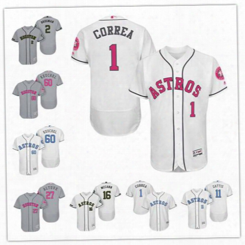 Personalize Cool Flex Base Houston Astros Custom Men Women Youth 2017 Memorial Father's Mother's Day Jerseys 1 Carlos Correa 27 Jose Altuve