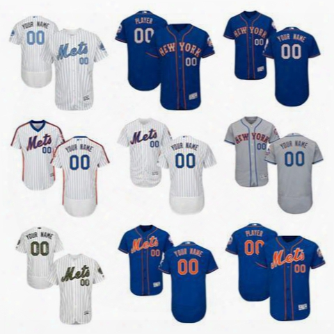 Personalize New York Mets Mens Flex Base Custom Baseball Jerseys Home White Pinstripe Pullover 25th Patch Gray Royal Blue Father's Day S,4xl