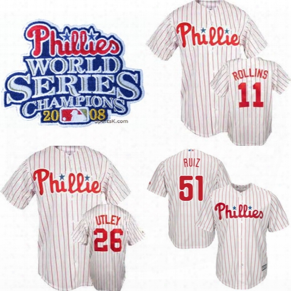 Phillies 2008 World Series Champions Jersey 26 Chase Utley 54 Brad Lidge 8 Shane Victorino 11 Jimmy Rollins 51 Carlos Ruiz 28 Jayson Werth