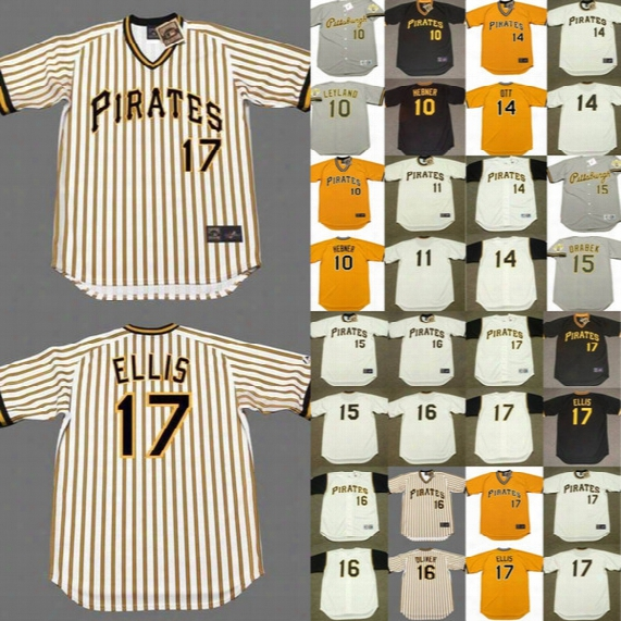 Pittsburgh Pirates 10 Jim Leyland Richie Hebner 11 Jose Pagan 14 Gene Alley Ed Ott Doug Drabek 17 Dock Ellis Throwback Baseball Jersey