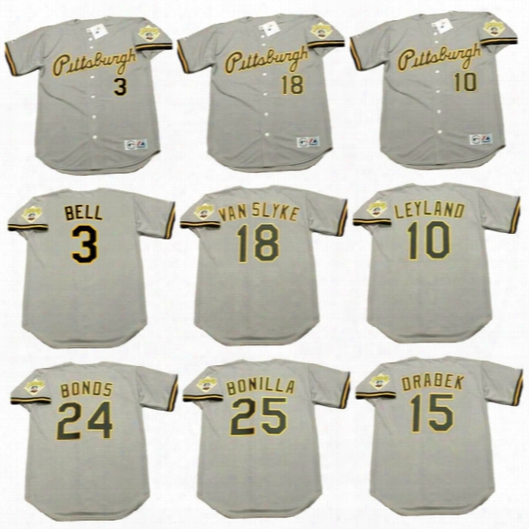 Pittsburgh Pirates 3 Jay Bell 10 Jim Leyland 15 Doug Drabek 18 Andy Van Slyke Bobby Bonill Barry Bonds 1992 Throwback Baseball Jerseys