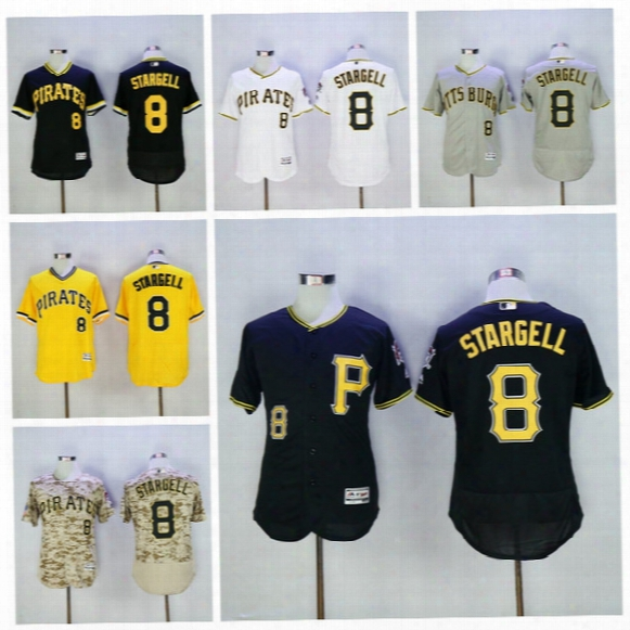 Pittsburgh Pirates 8 Willie Stargell Jersey Cream Yellow 1979 Throwback Flexbase Baseball Jerseys Black White Pullover Yellow Grey Black