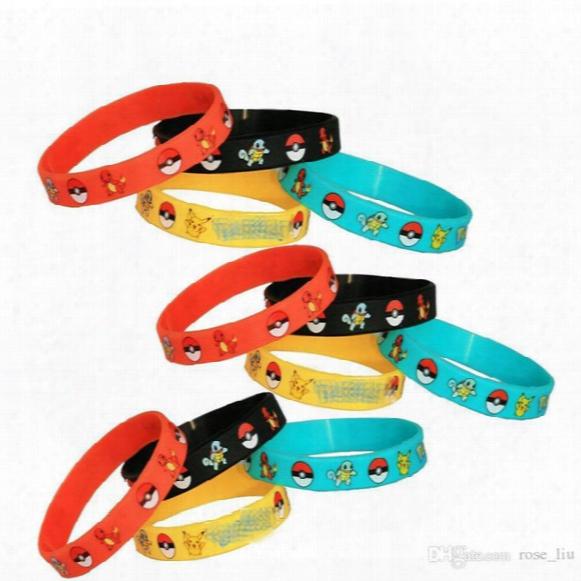 Poke Go Silicone Bracelets Toys 4 Color Children Poke Ball Sylveon Charmander Bulbasaur Jeni Turtle Bracelets B