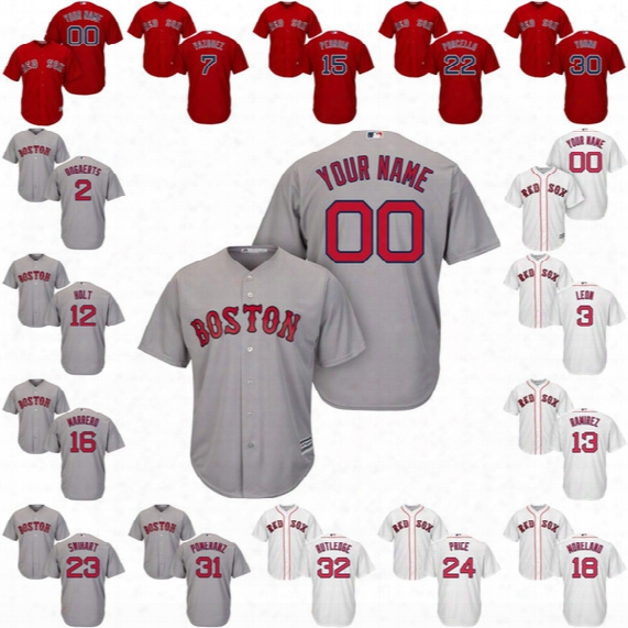 Red Sox Cool Base Custom Jerseys 2 Xander Bogaerts 3 Sandy Loen 7 Christian Vazquez 12 Brock Holt 15 Dustin Pedroia Jersey