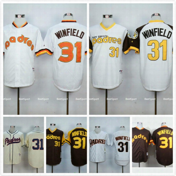 San Diego Padres #31 Dave Winfield Jersey 1984 1978 1948 Dave Winfield Throwback Baseball Jerseys Stitched White Cream Coffee
