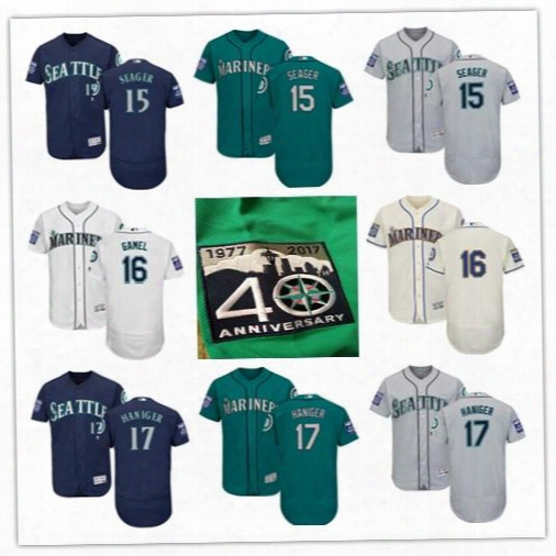 Seattle Mariners Jersey 15 Kyle Seager 17 Mitch Haniger 16 Ben Gamel 2017 Flex Base Custom Jersey With Commemorative Patch Size S-6xl