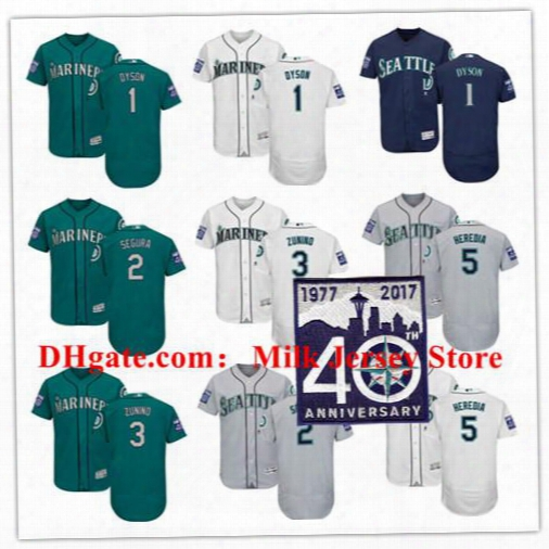 Seattle Mariners Jersey With 2017 40th Anniversary Patch 1 Jarrod Dyson 2 Jean Seguar 3 Mike Zunino 5 Guillermo Heredia Green White Blue