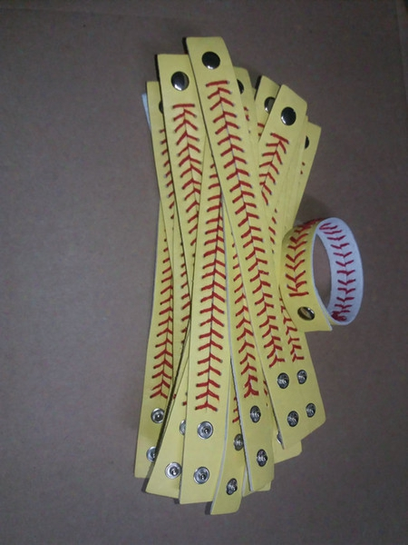 Softball Baseball Sport Bracelet- Actual Baseball Leather Bracelet ,yellow Softball Leather With Red Seams/stitching.