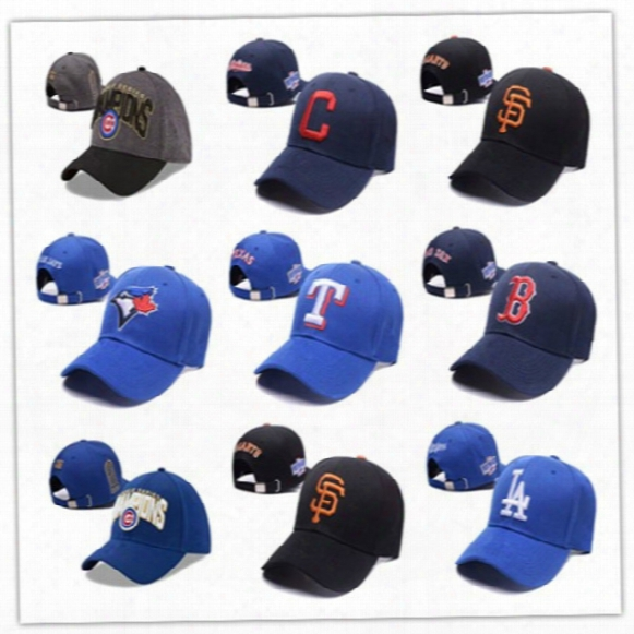 Sport All Team Hats Embroidered Link Logo Cubs/white Sox/indians/red Sox Navy Blue Adjustable Baseball Snapback Caps