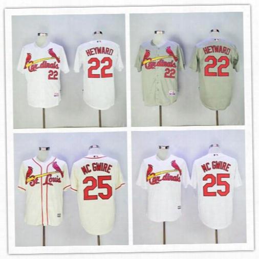St. Louis #22 Jason Heywaro #25 Mark Mcgwire Baseball Jerseys Cream Red White Cool Base Flexbase Jersey High Quality Embroidered