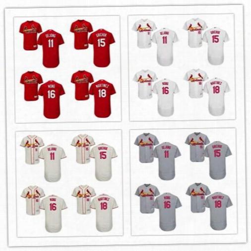 St. Louis Cardinals 2017 Baseball Jerseys 11 Paul Dejong 15 Randal Grichuk 16 Kolten Wong 18 Carlos Martinez Flex Base Jerseys Size S-6xl