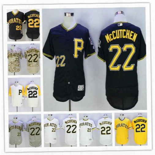 Stitched Mens Pittsburgh Pirates #22 Andrew Mccutchen Black Gray White Yellow Camo Fashion Mesh Pullover Cooperstown Cool Flex Gold Jerseys