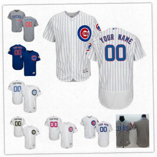 Stitched Personalized Chicago Cubs Men Flex Base Custom Baseball Cheap Jerseys Mother Father Memorial Day Home White Gray Royal Blue S,4xl