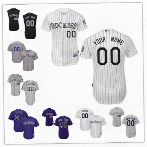 Stitched Personalized Cool Base Colorado Rockies Custom Mens Womens Youth Baseball Jersey Home White Black Vest Sleeveless Purple Gray S,4xl