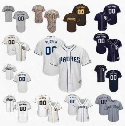 Stitched Personalized Cool Base San Diego Padres Custom Mens Womens Youth Baseball Cheap Jerseys Home White Gray Camo Navy Blue Brown S,4xl