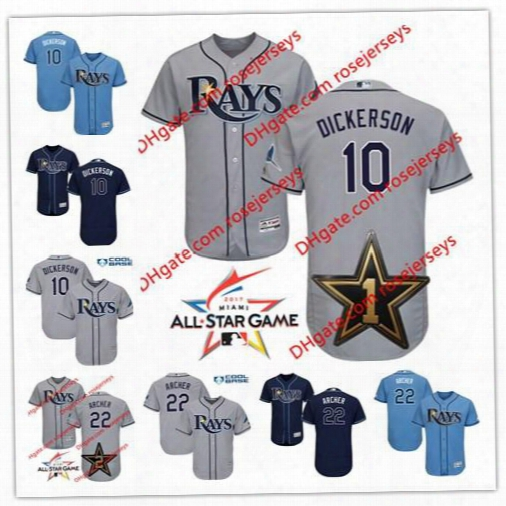 Tampa Bay Rays 2017 All-star Game Worn Jersey #10 Corey Dickerson 22 Chris Archer Gray White Blue Navy Stitched Baseball Jerseys S,4xl