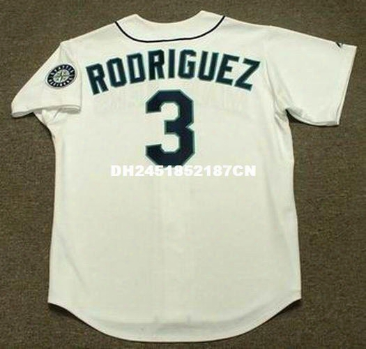 Throwback #3 Alex Rodriguez Seattle Mariners 1997 Retro Jerseys Throwback Home Embroidery Men's Baseball Jersey