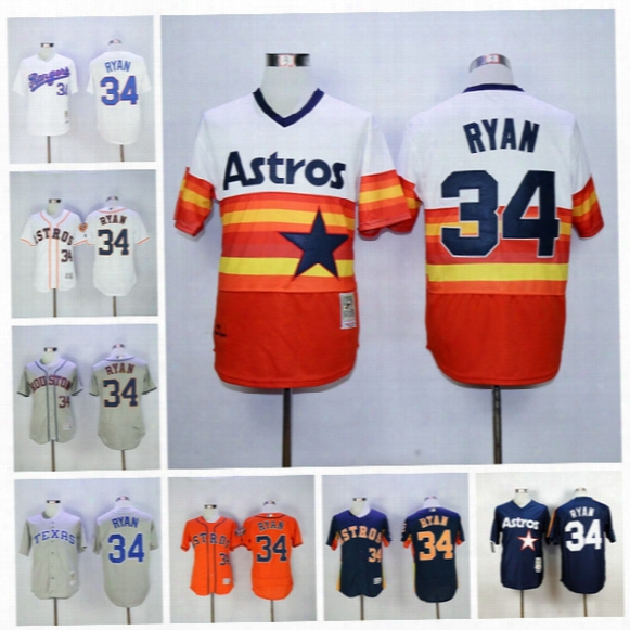 Throwback 34 Nolan Ryan Jersey Houston Astros Nollan Ryan Baseball Jerseys Flexbase Cool Base Rainbow Orange Grey White Navy Blue Green