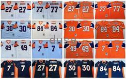 Throwback Jerseys Vintage 7 John Elway 27 Steve Atwater 84 Shannon Sharpe 49 Dennis Smith 30 Terrell Davis Mecklenburg Orange Blue White