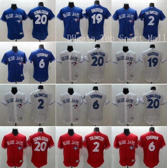 Toronto Blue Jays 20 Josh Donaldson Baseball Jerseys 19 Jose Bautista 6 Marcus Stroman 2 Troy Tulowitzki Elite Team Blue Red White Beige