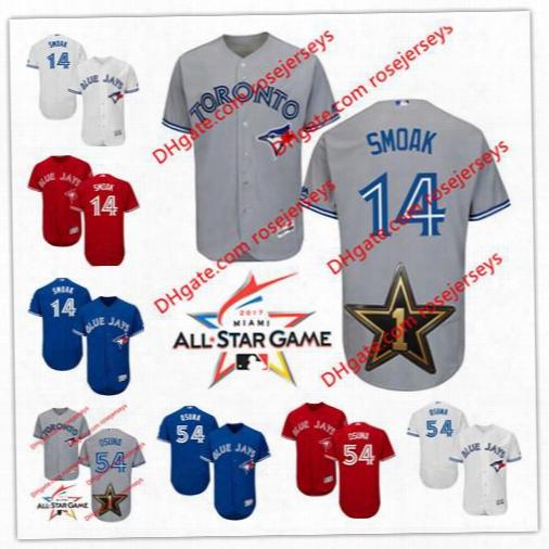 Toronto Blue Jays 2017 All-star Game Worn Jersey #14 Justin Smoak 54 Roberto Osuna Gray Road Whit Royal Blue Red Stitched Baseball Jerseys