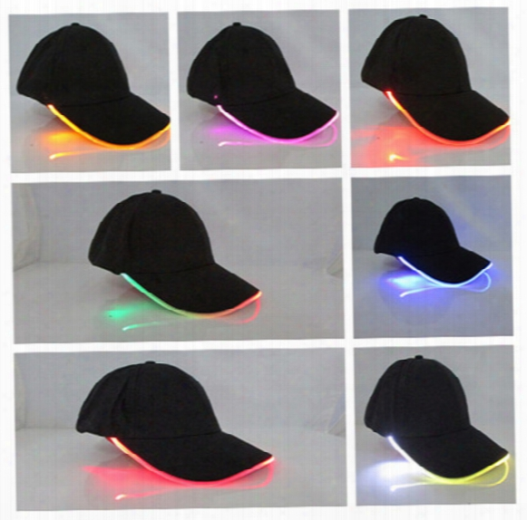 Unisex Caps Fashion Led Lighted Glow Club Party Black Fbric Travel Hat Baseball Cap