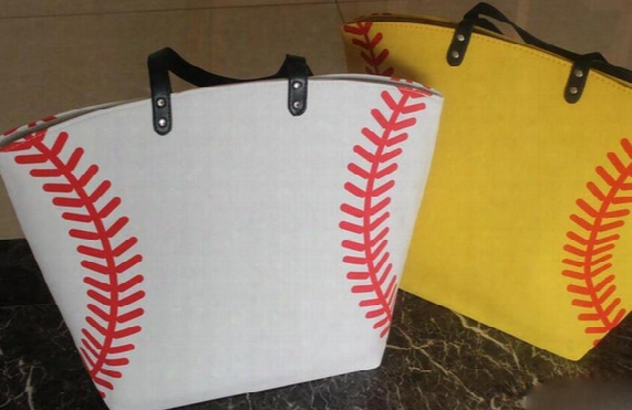 Usa Black & White &yellow Blanks Cotton Softball Tote Bags Baseball Bag Football Bags Soccer Ball Bag With Hasps Closure Sports Bag