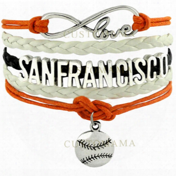 Wholesale-(10 Pcs/lot) Infinity Love San Francisco Baseball Charm Multilayer Bracelet For Baseball Fans Black Orange White Leather Custom