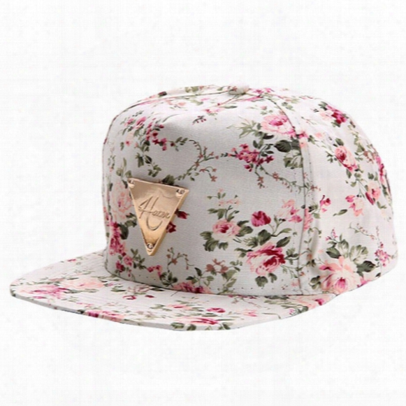 Wholesale- 2017 Baseball Cap Hip Hop Caps Men Women Floral Flower Snapback Hat Hip-hop Flat Adjustable Cap Sun Hats Boy Girl Gorras Planas