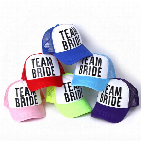 Wholesale- 2017 New Bride To Be Team Bride Bachelorette Hats Women Wedding Preparewear Trucker Caps White Neon Summer Mesh Baseball Caps