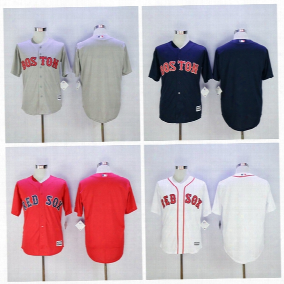 Wholesale Baseball Blank Red Sox Jersey Boston Men Stitched Flexbase Cool Base Blue White Red Grey Green High Quality On Sale