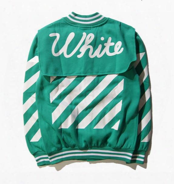 Wholesale- Euro Off White Jacket Men Women Autumn High Quality Warm Striped Baseball Jacket Virgil Aboloh Gd Off White Jackets&sweatshirts