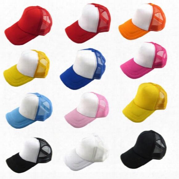 Wholesale-hot Marketing Unisex Casual Hat Solid Baseball Cap Trucker Mesh Blank Visor Hat Adjustable June16