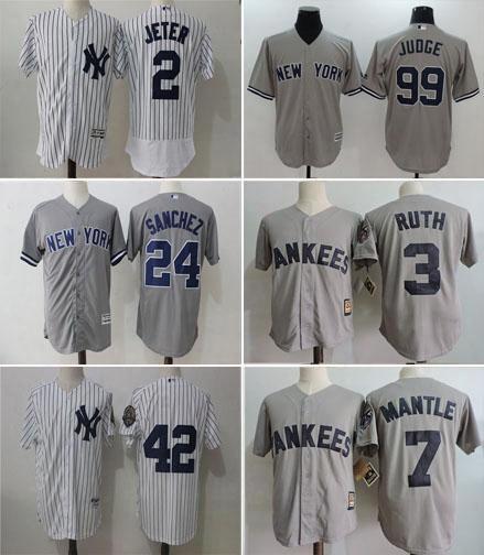 Wholesale Men's New York Yankees Baseball Jersey #2 Derek Jeter #24 Gary Sanchez #99 Aaron Judge Stitched Embroidery Logo Baseball Jerseys