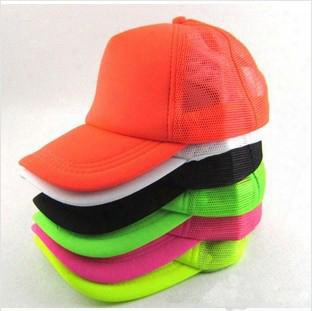 Wholesale-new 2015 Classic Fluorescent/ Plain / Blank Trucker Baseball Summer Mesh Cap Hat Snapback For Men Women 10 Colors