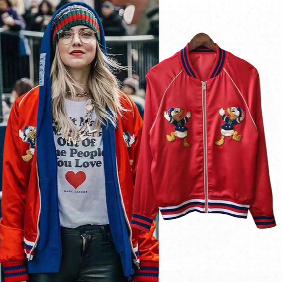 Winter Europe Italy Embroidery Donald Duck Red Autumn Winter Baseball Uniform Fashion Men Women Luxury Silk Jacket